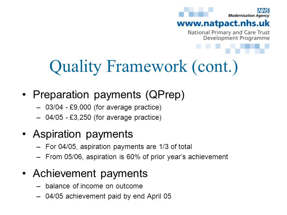 Quality Framework (cont.) Preparation payments (QPrep) –03/04 - £9,000 (for average practice) –04/05 - £3,250 (for average practice) Aspiration payments –For 04/05, aspiration payments are 1/3 of total –From 05/06, aspiration is 60% of prior years achievement Achievement payments –balance of income on outcome –04/05 achievement paid by end April 05