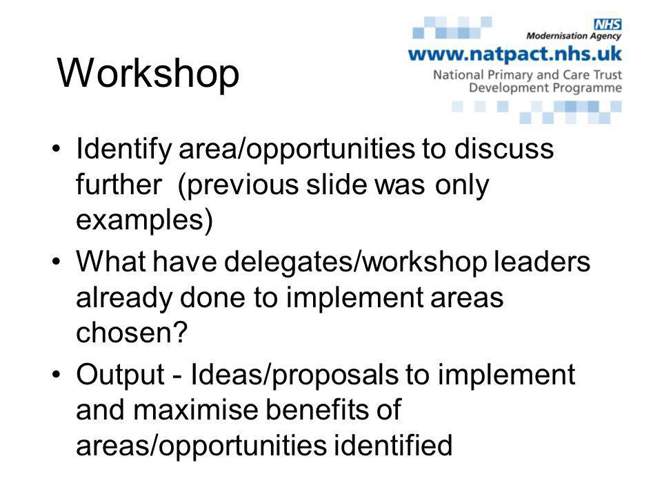 Workshop Identify area/opportunities to discuss further (previous slide was only examples) What have delegates/workshop leaders already done to implement areas chosen.