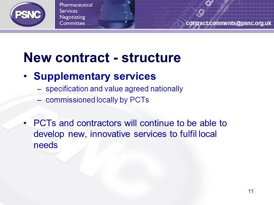 11 contract.comments@psnc.org.uk New contract - structure Supplementary services –specification and value agreed nationally –commissioned locally by PCTs PCTs and contractors will continue to be able to develop new, innovative services to fulfil local needs