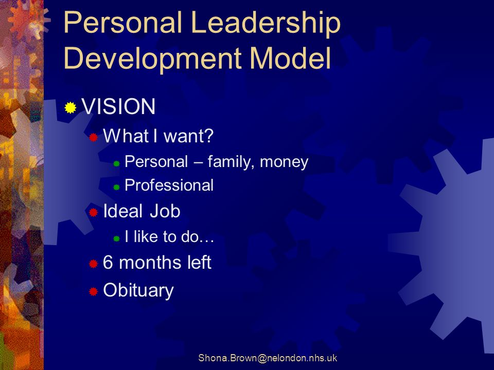 Shona.Brown@nelondon.nhs.uk Personal Leadership Development Model VISION What I want.