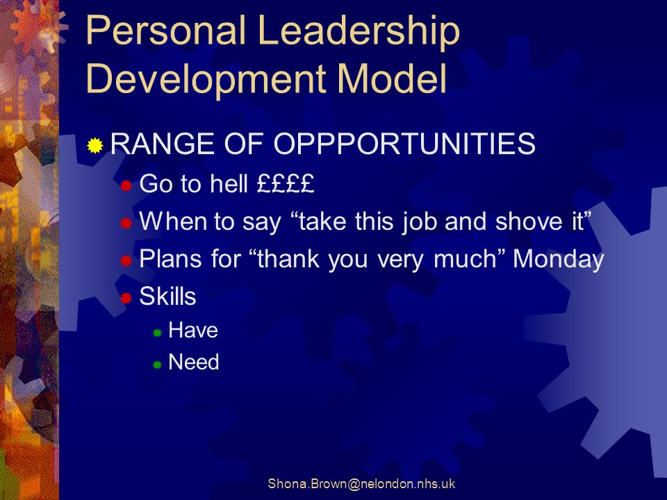 Personal Leadership Development Model RANGE OF OPPPORTUNITIES Go to hell ££££ When to say take this job and shove it Plans for thank you very much Monday Skills Have Need