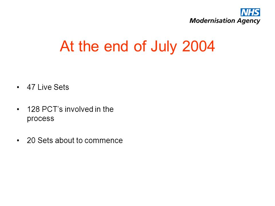 At the end of July Live Sets 128 PCTs involved in the process 20 Sets about to commence