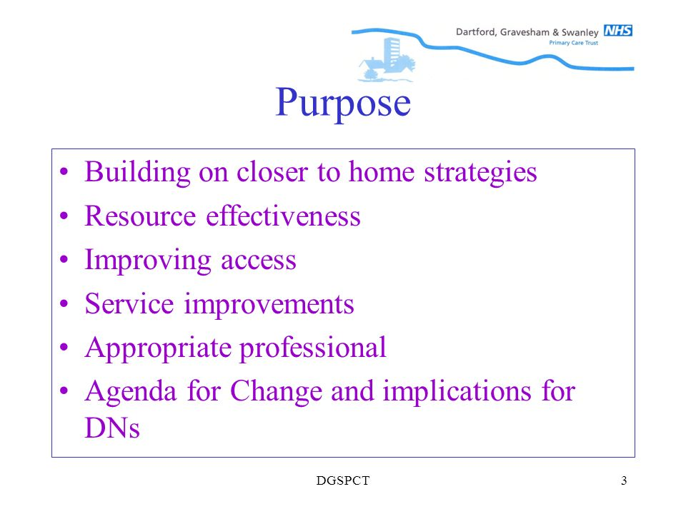 DGSPCT3 Purpose Building on closer to home strategies Resource effectiveness Improving access Service improvements Appropriate professional Agenda for Change and implications for DNs
