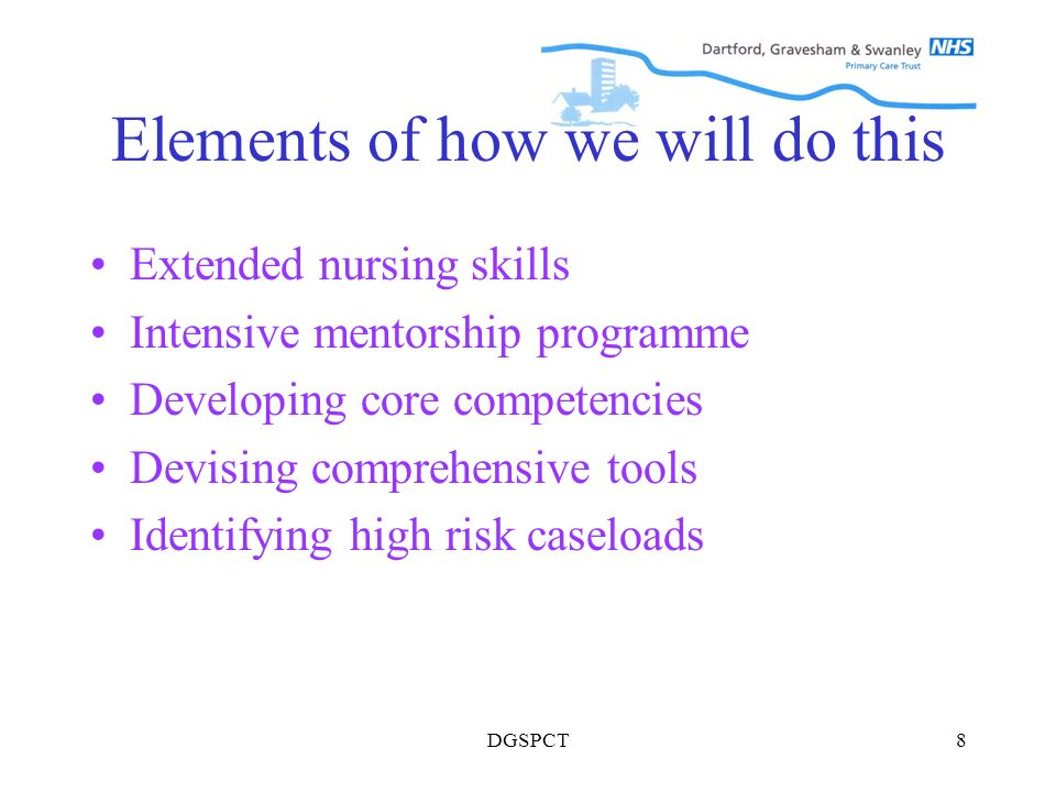 DGSPCT8 Elements of how we will do this Extended nursing skills Intensive mentorship programme Developing core competencies Devising comprehensive tools Identifying high risk caseloads