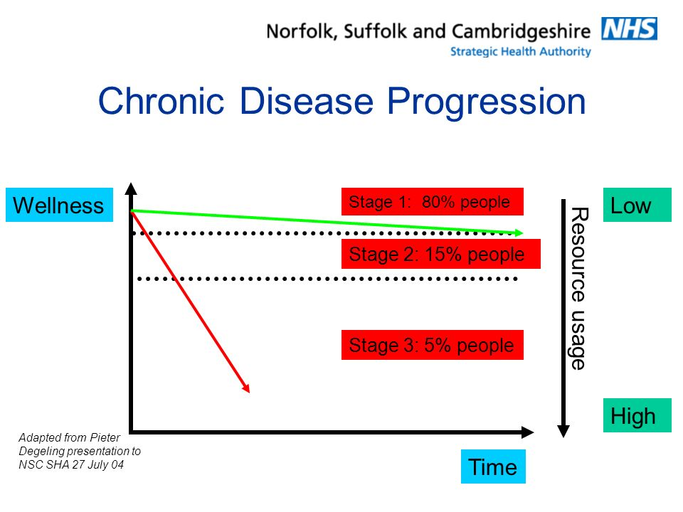 Chronic Disease Progression Time Wellness Stage 1: 80% people Stage 2: 15% people Stage 3: 5% people Adapted from Pieter Degeling presentation to NSC