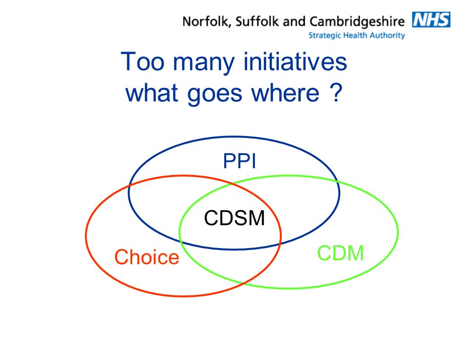 Too many initiatives what goes where ? PPI CDM Choice CDSM