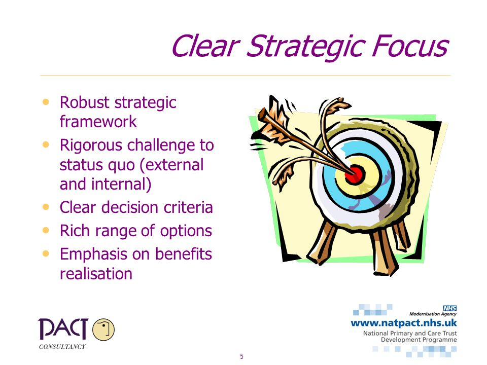 5 Clear Strategic Focus Robust strategic framework Rigorous challenge to status quo (external and internal) Clear decision criteria Rich range of options Emphasis on benefits realisation