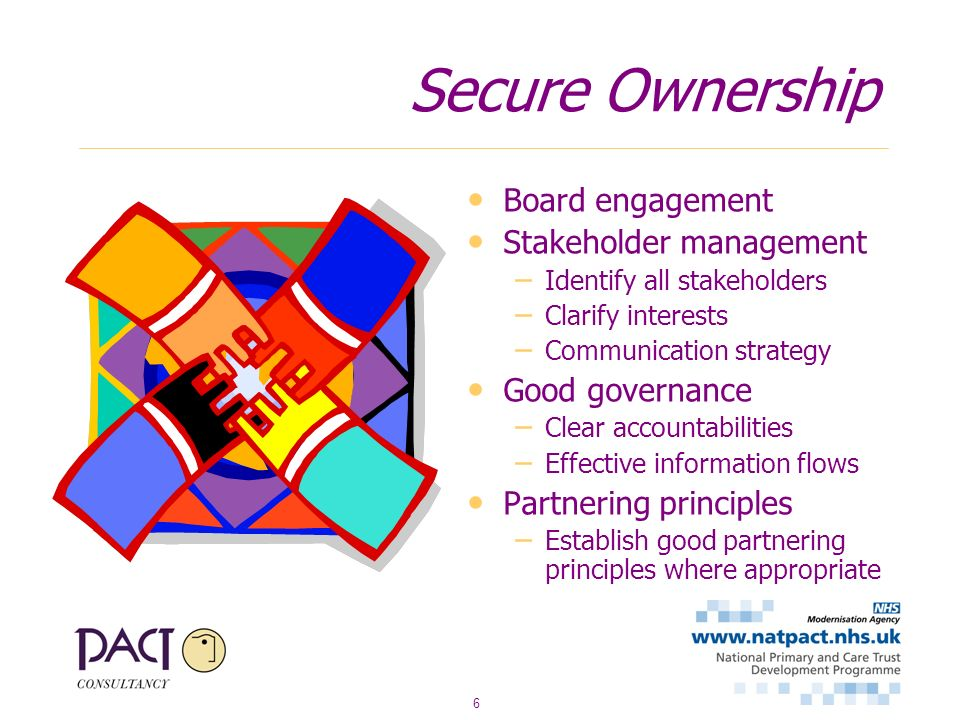 6 Secure Ownership Board engagement Stakeholder management – Identify all stakeholders – Clarify interests – Communication strategy Good governance –