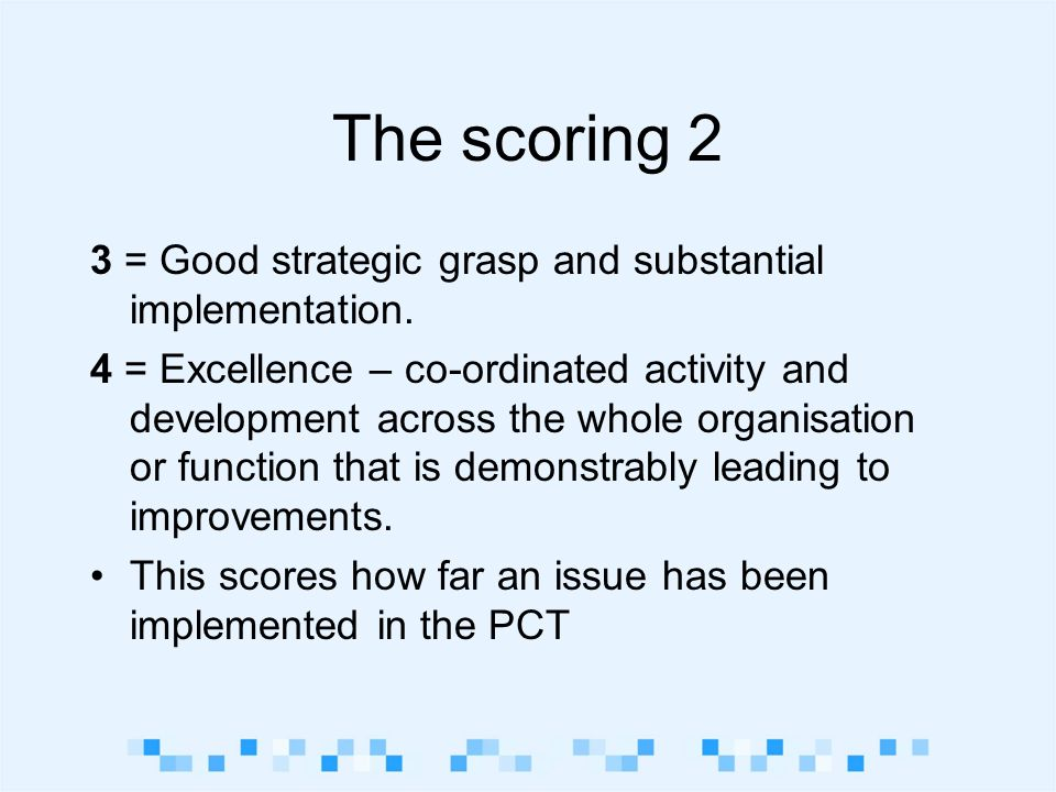 The scoring 2 3 = Good strategic grasp and substantial implementation.