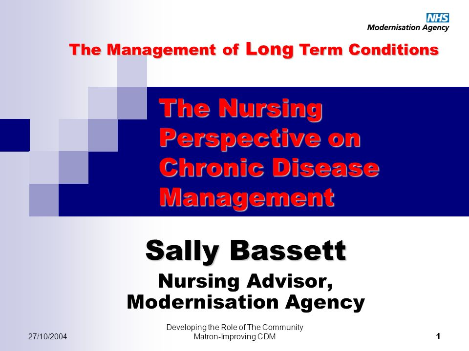 27/10/2004 Developing the Role of The Community Matron-Improving CDM 1 The Nursing Perspective on Chronic Disease Management Sally Bassett Nursing Advisor, Modernisation Agency The Management of Long Term Conditions