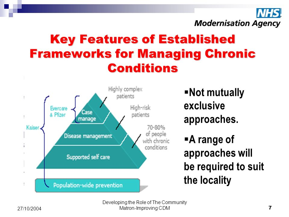 Developing the Role of The Community Matron-Improving CDM7 27/10/2004 Key Features of Established Frameworks for Managing Chronic Conditions Not mutually exclusive approaches.