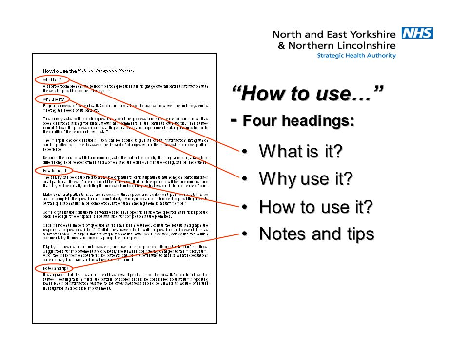 How to use… - Four headings: What is it? Why use it? How to use it? Notes and tips