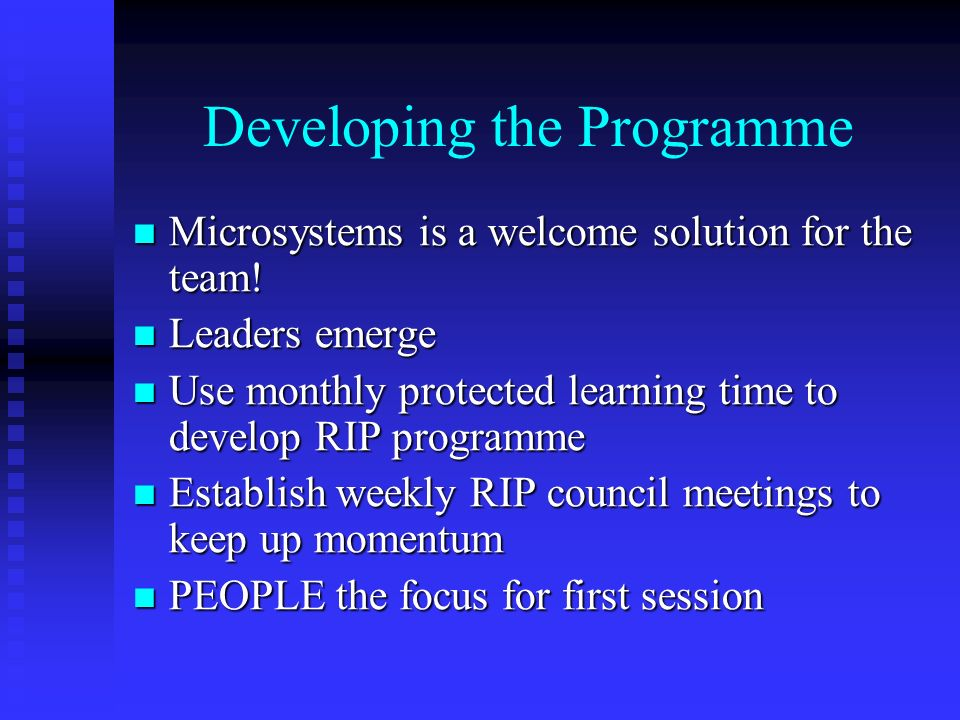 Developing the Programme Microsystems is a welcome solution for the team.