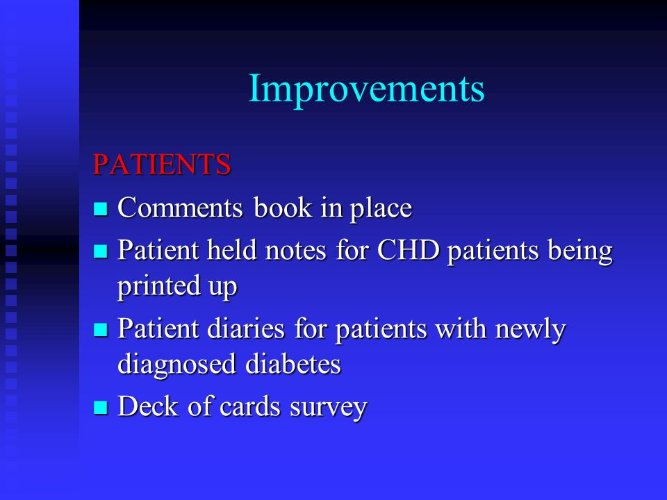 Improvements PATIENTS Comments book in place Comments book in place Patient held notes for CHD patients being printed up Patient held notes for CHD patients being printed up Patient diaries for patients with newly diagnosed diabetes Patient diaries for patients with newly diagnosed diabetes Deck of cards survey Deck of cards survey