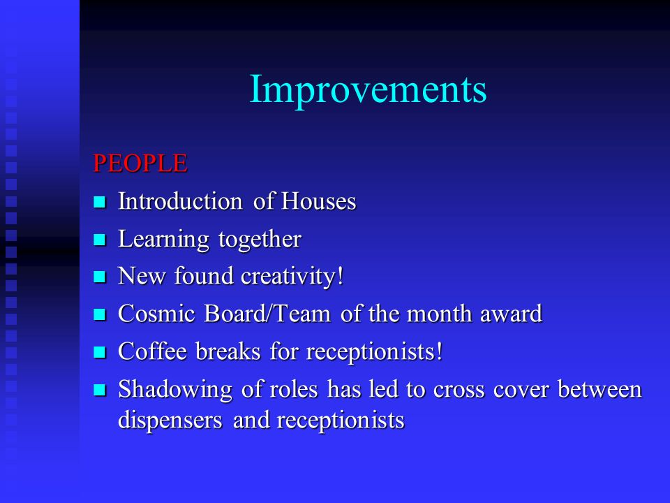 Improvements PEOPLE Introduction of Houses Introduction of Houses Learning together Learning together New found creativity.