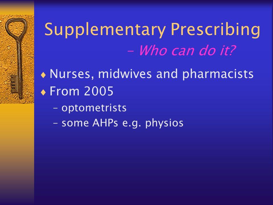 Supplementary Prescribing - Who can do it.