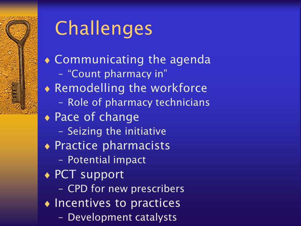 Challenges Communicating the agenda –Count pharmacy in Remodelling the workforce –Role of pharmacy technicians Pace of change –Seizing the initiative Practice pharmacists –Potential impact PCT support –CPD for new prescribers Incentives to practices –Development catalysts
