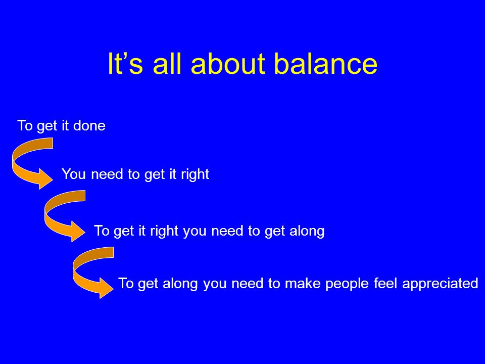 Its all about balance To get it done You need to get it right To get it right you need to get along To get along you need to make people feel apprecia