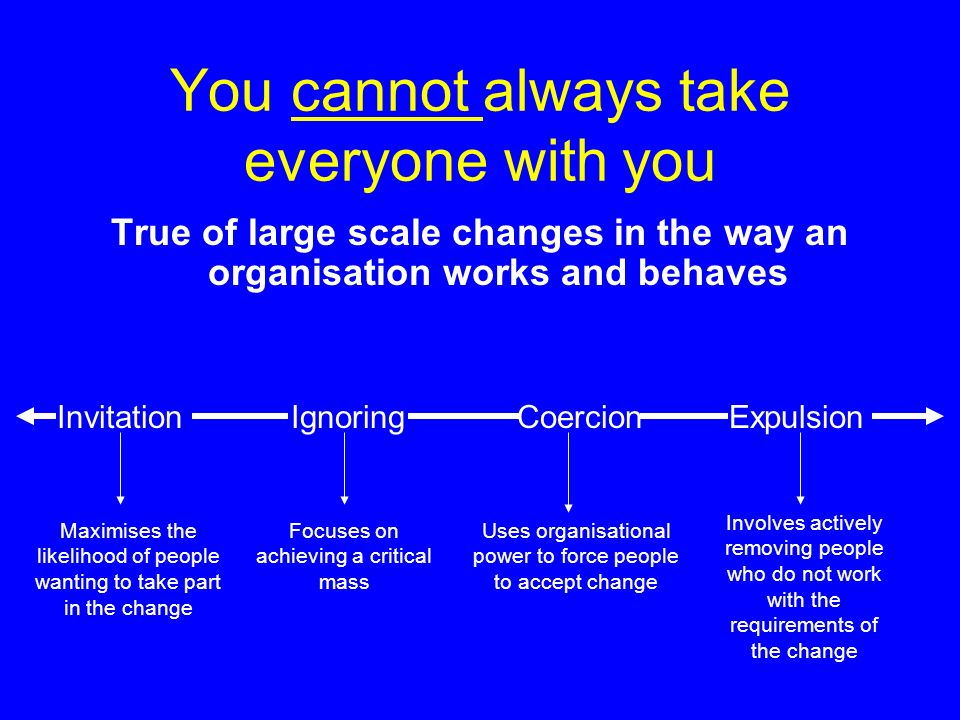 You cannot always take everyone with you True of large scale changes in the way an organisation works and behaves InvitationIgnoringCoercionExpulsion