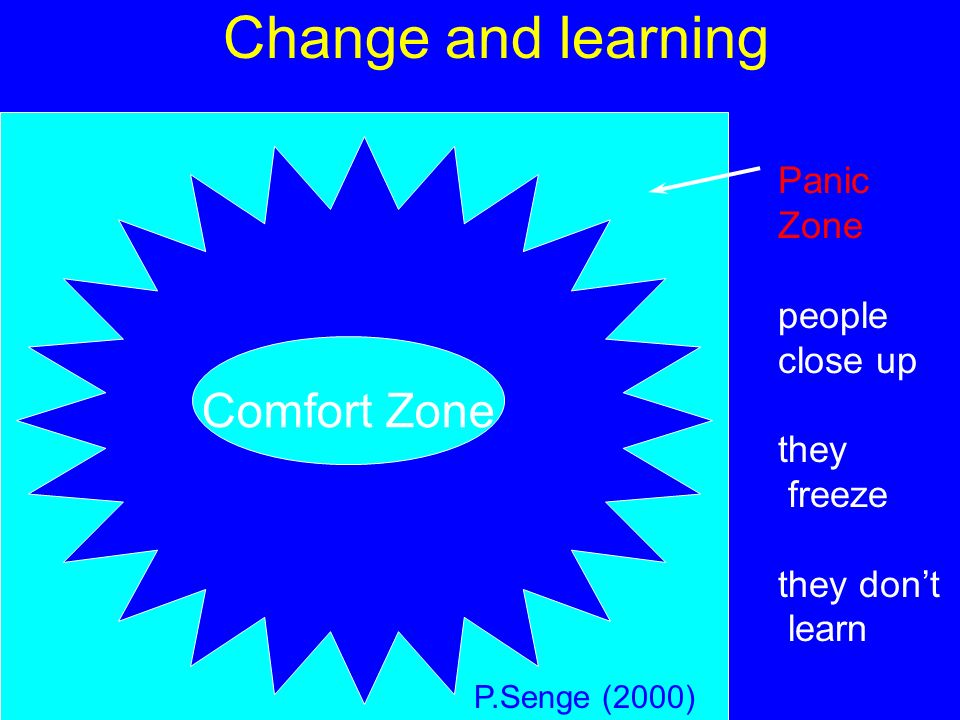 Change and learning Comfort Zone Panic Zone people close up they freeze they dont learn P.Senge (2000)