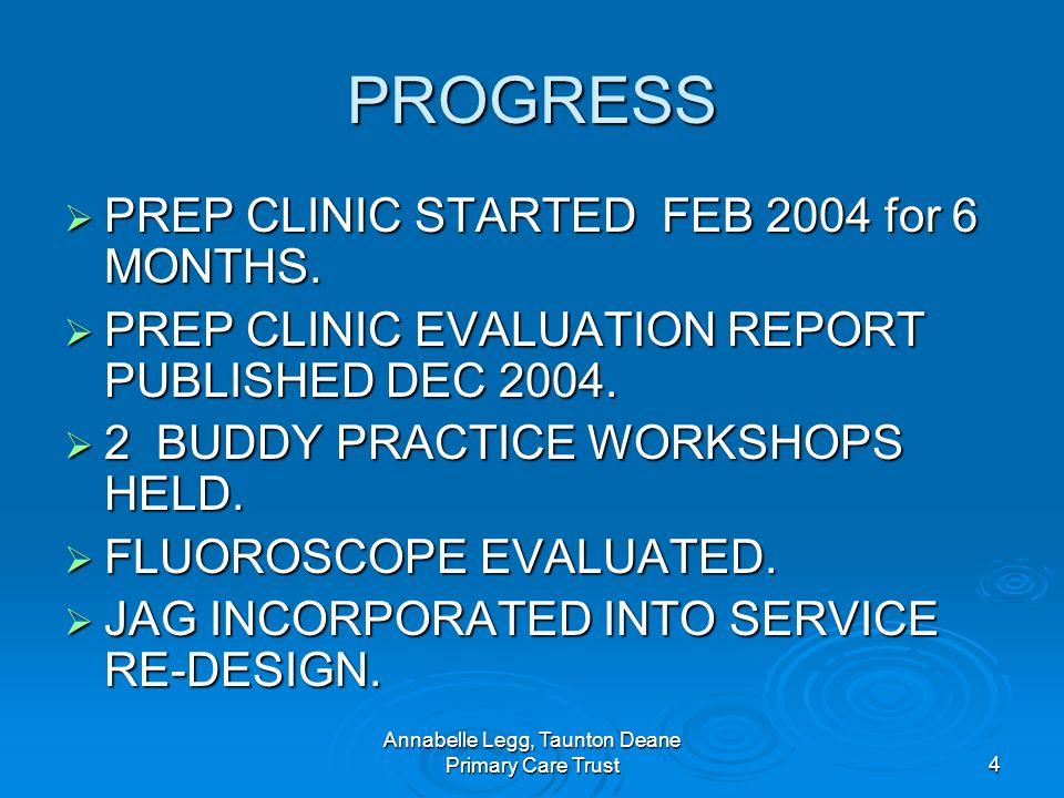 Annabelle Legg, Taunton Deane Primary Care Trust4 PROGRESS PREP CLINIC STARTED FEB 2004 for 6 MONTHS.