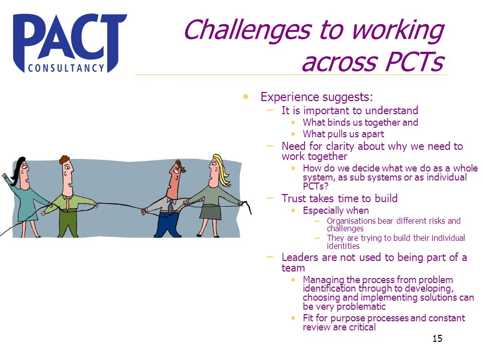 15 Challenges to working across PCTs Experience suggests: – It is important to understand What binds us together and What pulls us apart – Need for clarity about why we need to work together How do we decide what we do as a whole system, as sub systems or as individual PCTs.