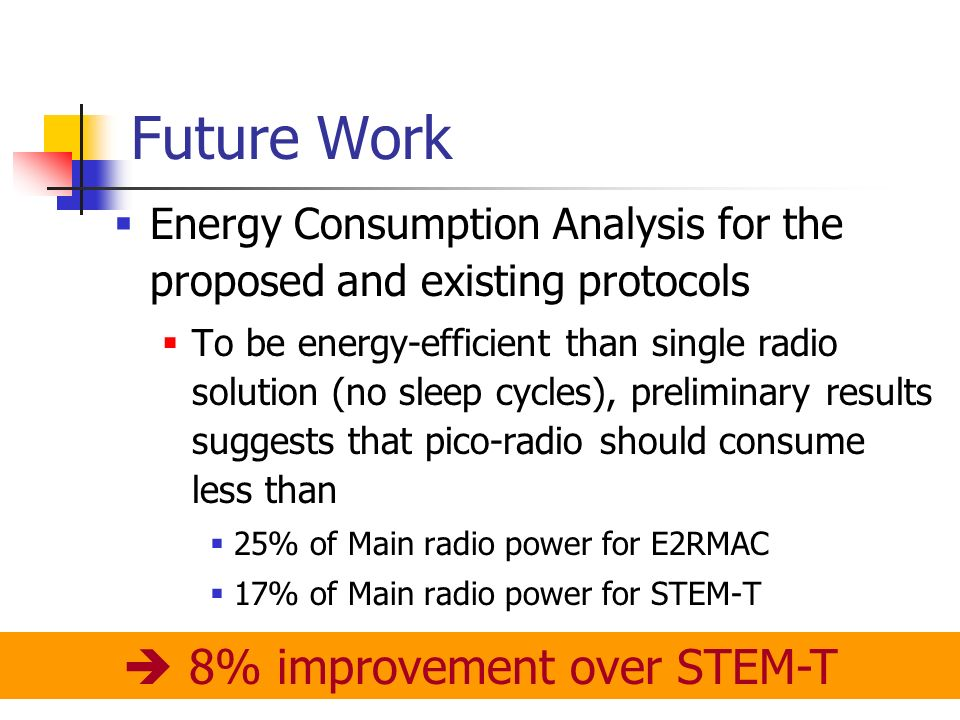 Future Work Energy Consumption Analysis for the proposed and existing protocols To be energy-efficient than single radio solution (no sleep cycles), preliminary results suggests that pico-radio should consume less than 25% of Main radio power for E2RMAC 17% of Main radio power for STEM-T 8% improvement over STEM-T