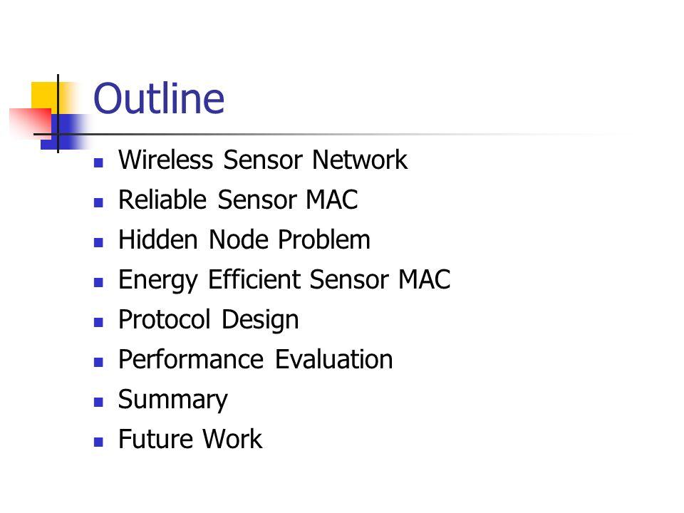 Outline Wireless Sensor Network Reliable Sensor MAC Hidden Node Problem Energy Efficient Sensor MAC Protocol Design Performance Evaluation Summary Future Work
