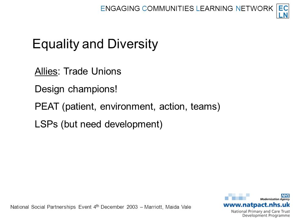EC LN ENGAGING COMMUNITIES LEARNING NETWORK National Social Partnerships Event 4 th December 2003 – Marriott, Maida Vale Equality and Diversity Allies: Trade Unions Design champions.