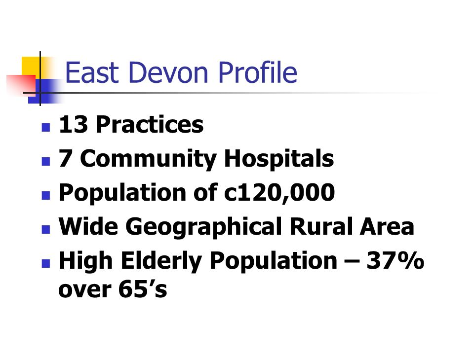 East Devon Profile 13 Practices 7 Community Hospitals Population of c120,000 Wide Geographical Rural Area High Elderly Population – 37% over 65s