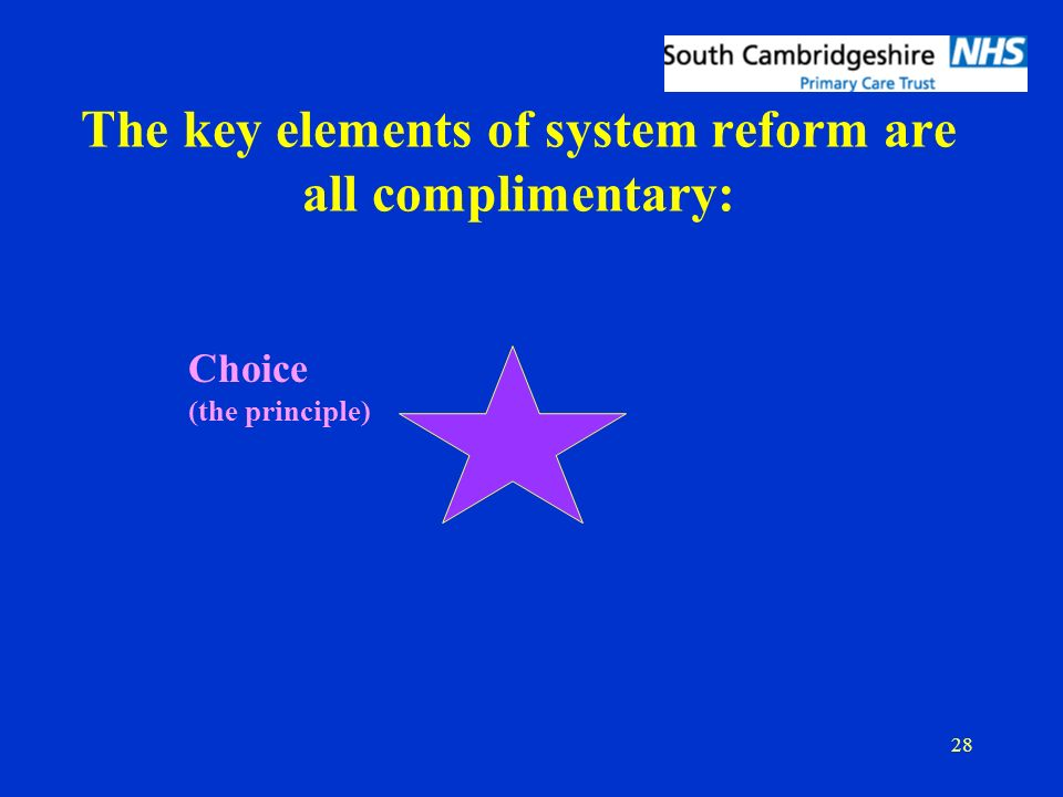 28 The key elements of system reform are all complimentary: Choice (the principle)