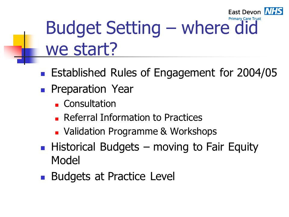 Budget Setting – where did we start.