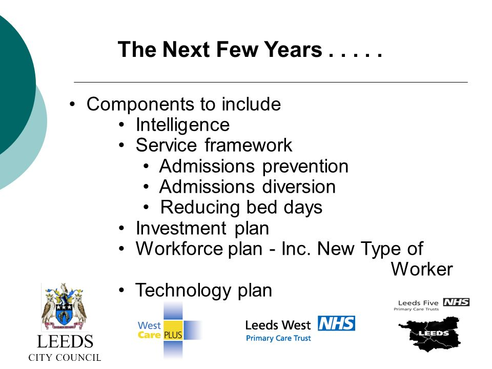 Components to include Intelligence Service framework Admissions prevention Admissions diversion Reducing bed days Investment plan Workforce plan - Inc.