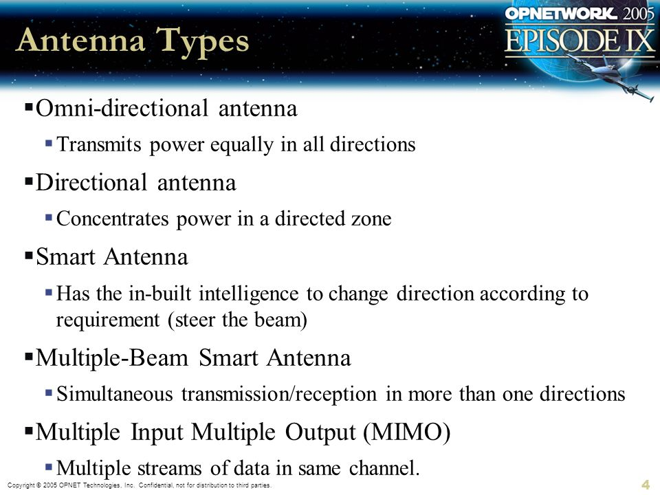 Copyright © 2005 OPNET Technologies, Inc. Confidential, not for distribution to third parties. 4 Antenna Types Omni-directional antenna Transmits powe