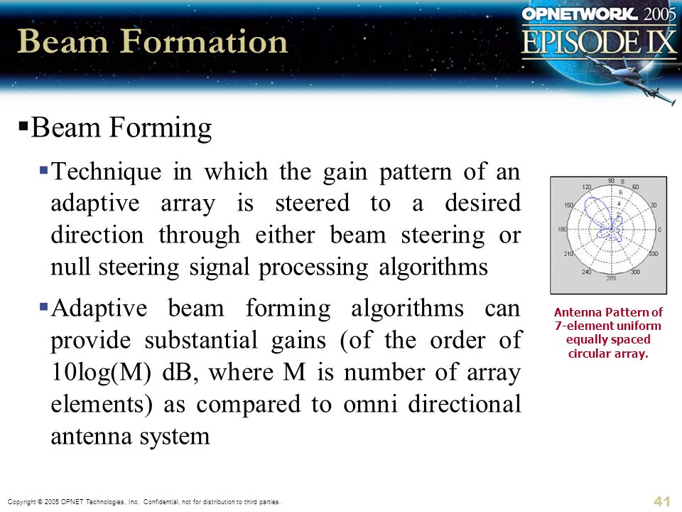 Copyright © 2005 OPNET Technologies, Inc. Confidential, not for distribution to third parties. 41 Beam Formation Beam Forming Technique in which the g