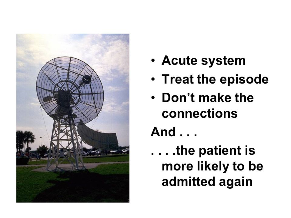 Acute system Treat the episode Dont make the connections And.......the patient is more likely to be admitted again