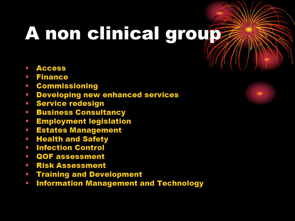 A non clinical group Access Finance Commissioning Developing new enhanced services Service redesign Business Consultancy Employment legislation Estates Management Health and Safety Infection Control QOF assessment Risk Assessment Training and Development Information Management and Technology