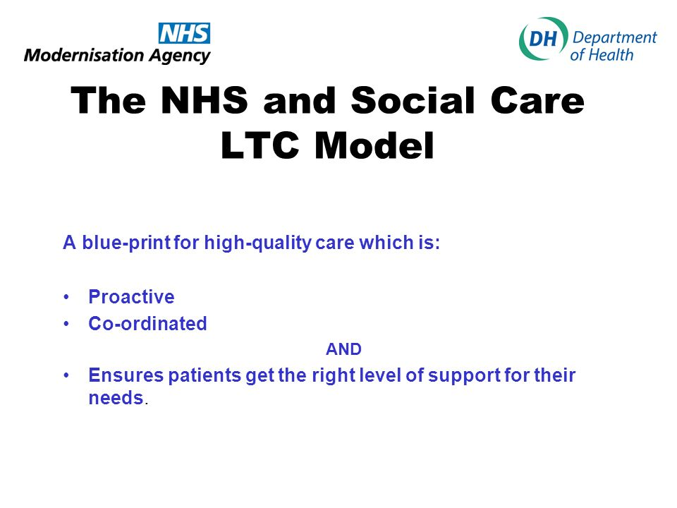 The NHS and Social Care LTC Model A blue-print for high-quality care which is: Proactive Co-ordinated AND Ensures patients get the right level of support for their needs.