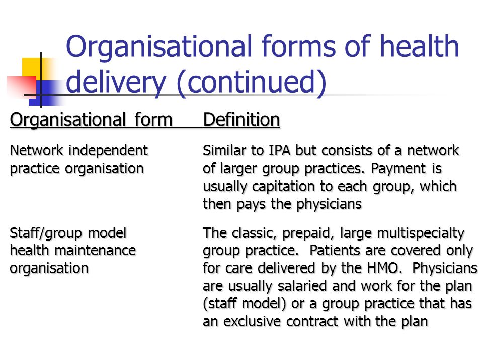 Organisational forms of health delivery (continued) Organisational formDefinition Network independentSimilar to IPA but consists of a network practice organisationof larger group practices.