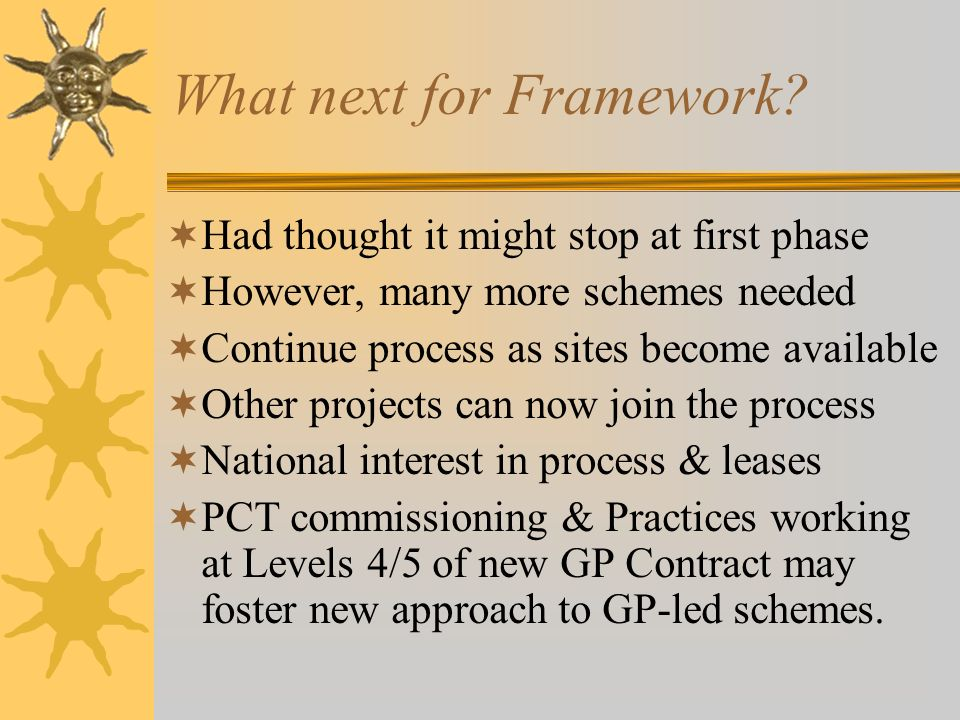 What next for Framework? Had thought it might stop at first phase However, many more schemes needed Continue process as sites become available Other p