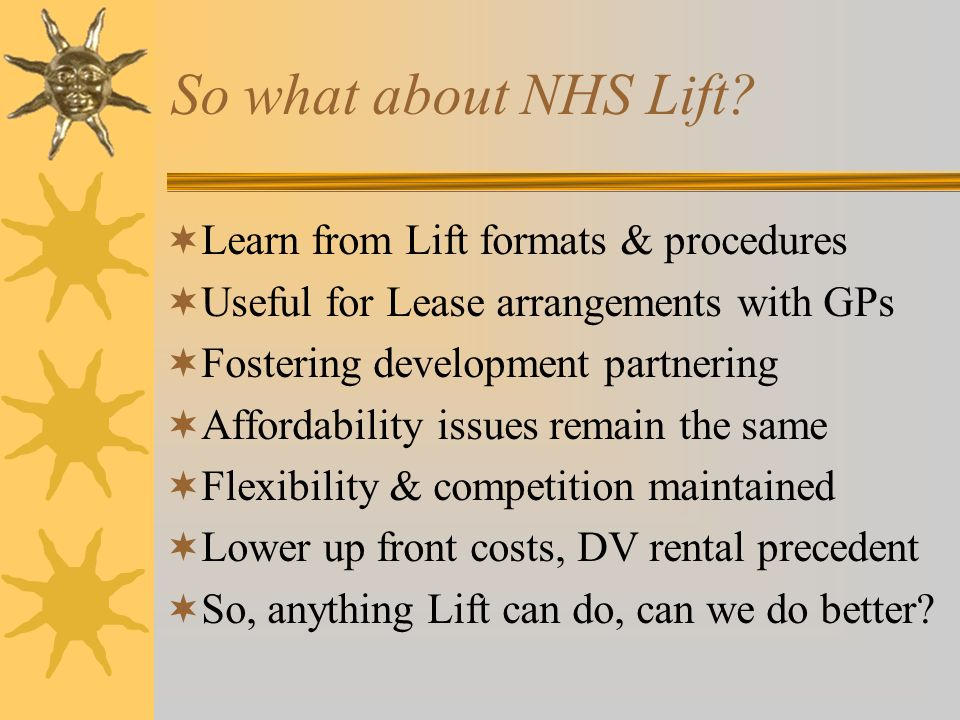 So what about NHS Lift.