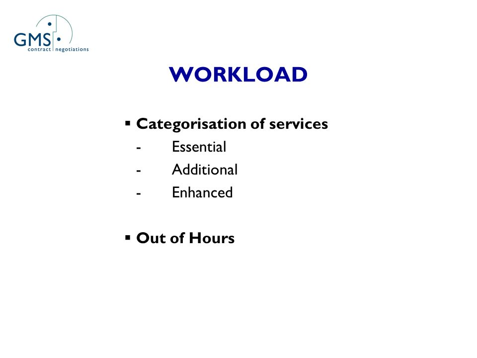 WORKLOAD Categorisation of services -Essential -Additional -Enhanced Out of Hours