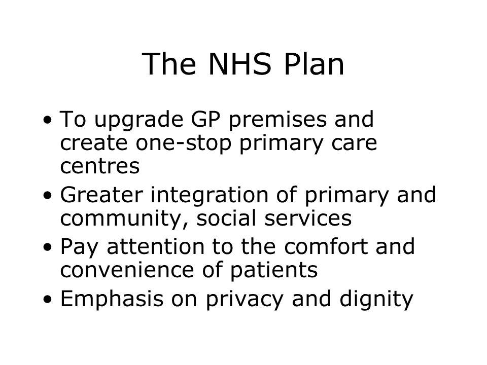 The National Policy Framework Modernisation agenda Consumerism, design quality, sustainability To enhance the patients experience of healthcare