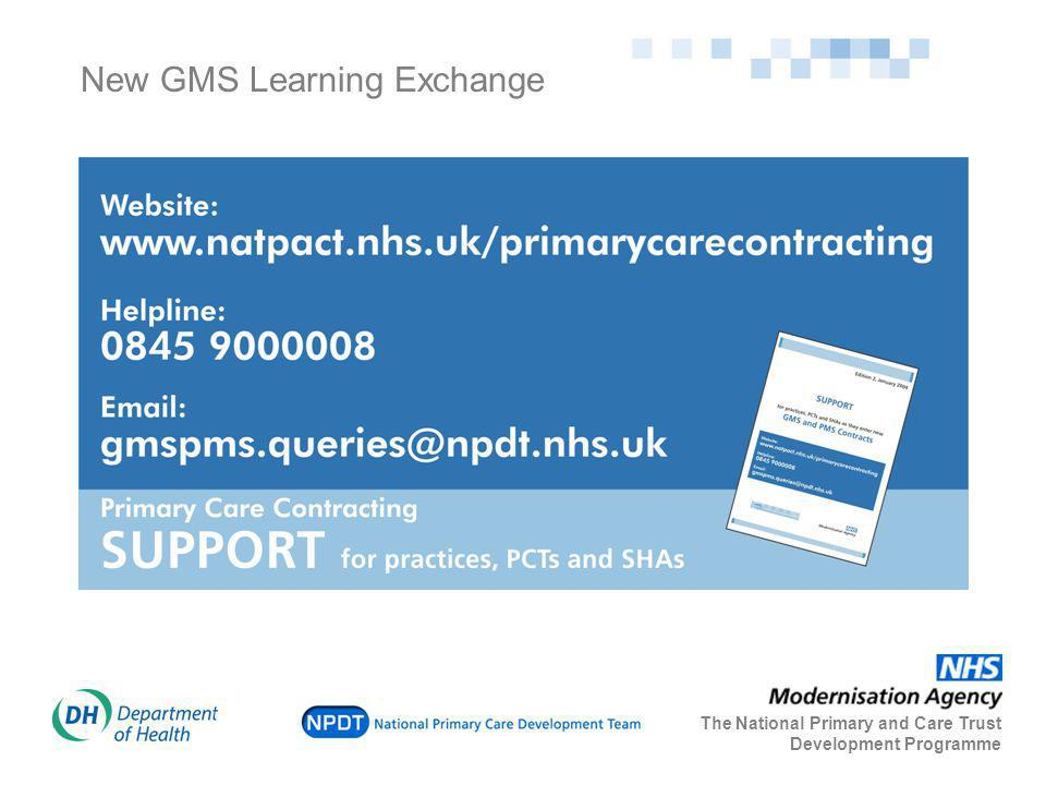 New GMS Learning Exchange The National Primary and Care Trust Development Programme
