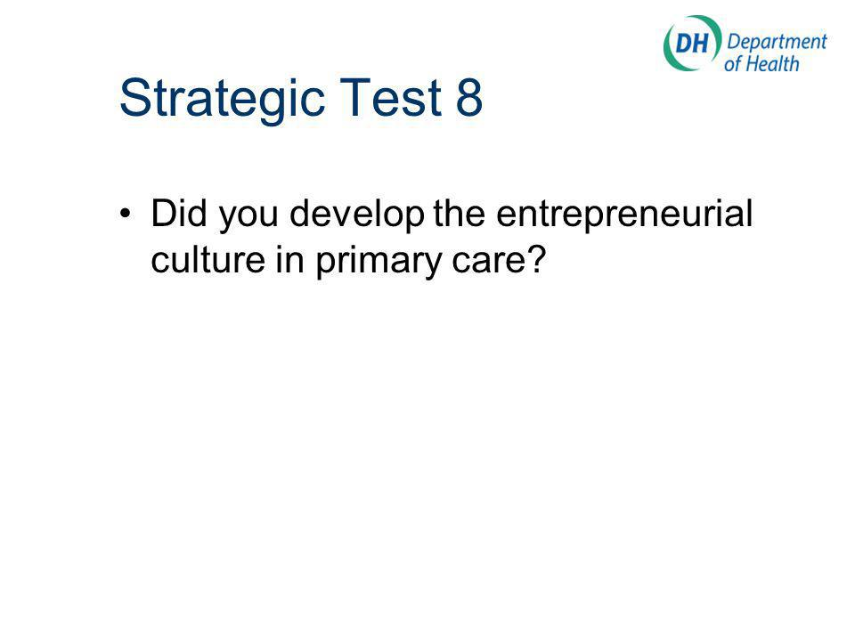 Did you develop the entrepreneurial culture in primary care Strategic Test 8