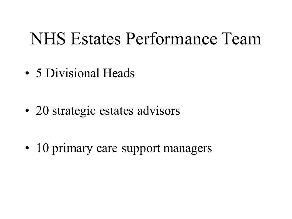 NHS Estates Performance Team 5 Divisional Heads 20 strategic estates advisors 10 primary care support managers