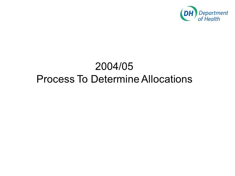2004/05 Process To Determine Allocations