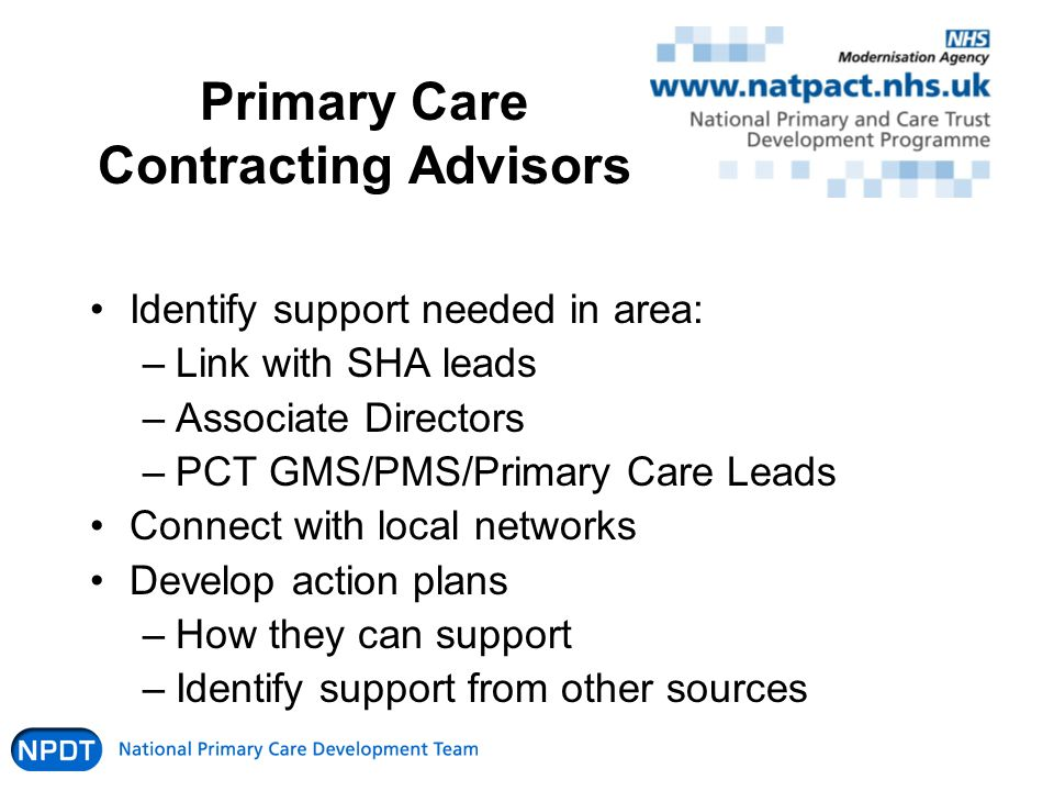 Primary Care Contracting Advisors Identify support needed in area: –Link with SHA leads –Associate Directors –PCT GMS/PMS/Primary Care Leads Connect with local networks Develop action plans –How they can support –Identify support from other sources