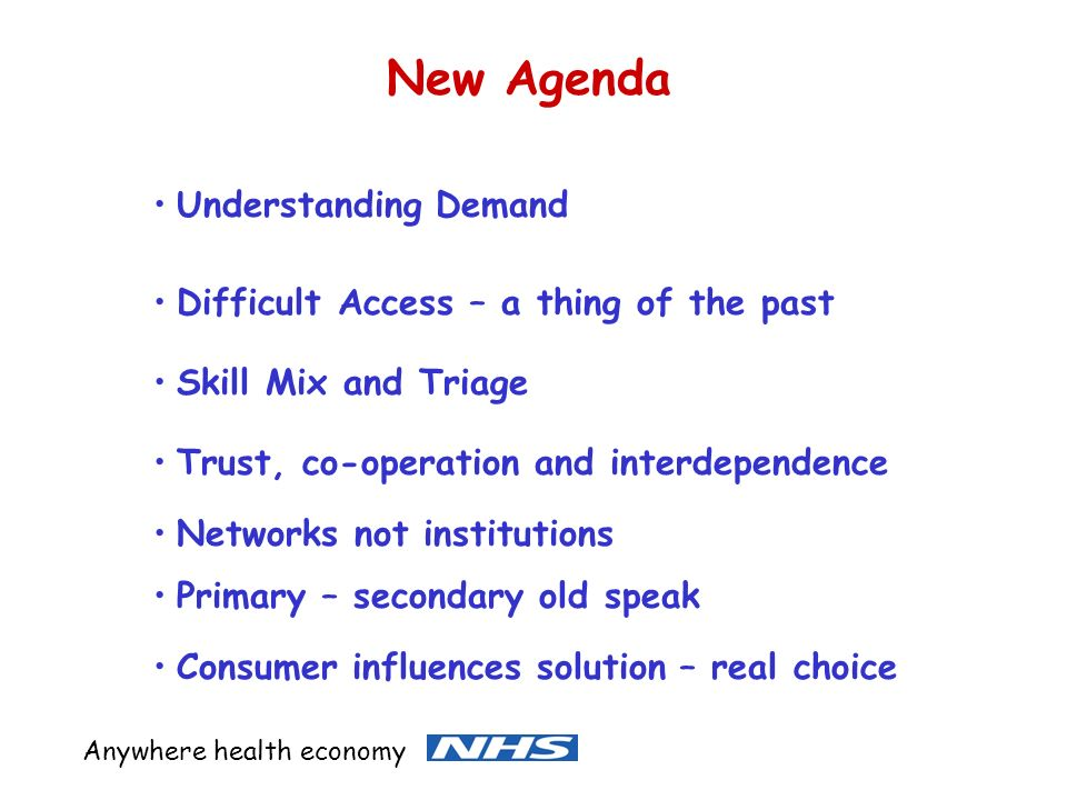 New Agenda Understanding Demand Difficult Access – a thing of the past Skill Mix and Triage Trust, co-operation and interdependence Consumer influences solution – real choice Anywhere health economy Networks not institutions Primary – secondary old speak