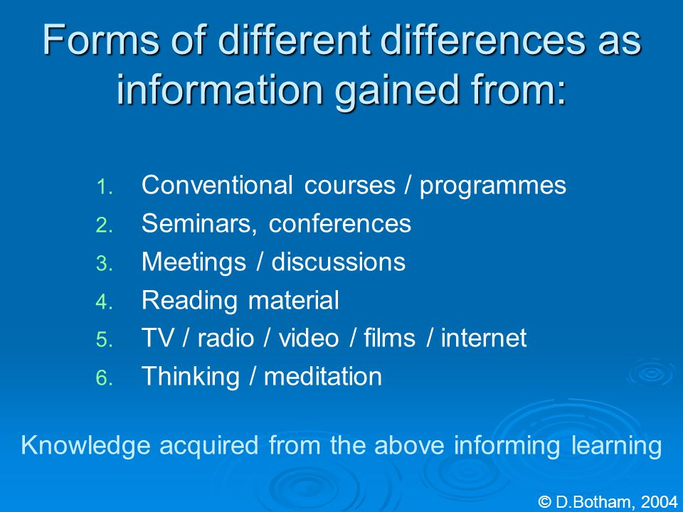 Forms of different differences as information gained from: 1. 1. Conventional courses / programmes 2. 2. Seminars, conferences 3. 3. Meetings / discus